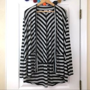 Chico's Black & White Striped Jersey Knit Cardigan
